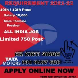 URGENT NEED! APPLY FASTTATA  Motors India Pvt Ltd is hiring candidates