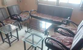 Sofa set 7 seater with Glass top center table & glass top side tables