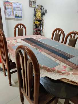 6 chair glass dining table -pure Sagwanb -6*4
