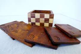 PAKQUENSIS ECO FRIENDLY WOODEN TEE COASTER SET