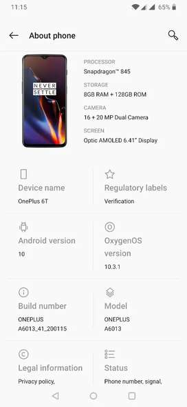 OnePlus 6T 8GB Ram 128GB Memory .Read add completely.