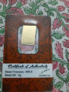 Gold bar 24k 999.9
