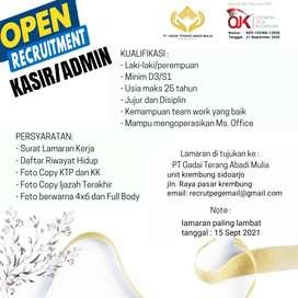 Open recruitment karyawan admin/kasir
