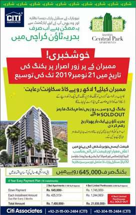 Booking in central park appartmets bahria town ksrachi