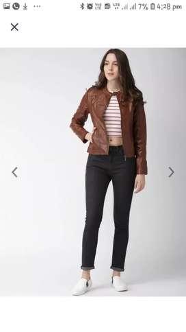 Havard women brown solid biker jacket