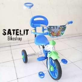 Sepeda Anak Roda Tiga PMB Dorong Bahan Chrome