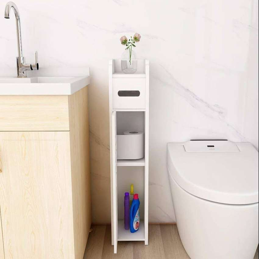 Small Bathroom Cabinet Storage Floor Cabinet with Doors and Shelves,B