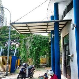 @24 canopy minimalis rangka tunggal atapnya alderon pvc bikin nyaman
