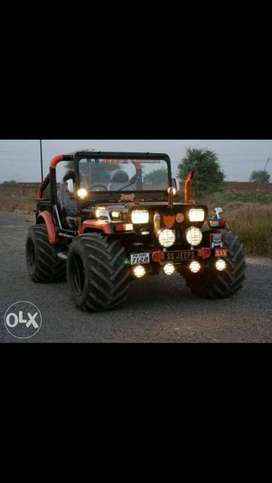 mhindra weely jeep modifi with big tyers and