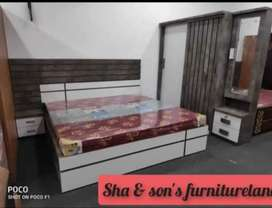 New trendy design bed set of sha furnitureland best price