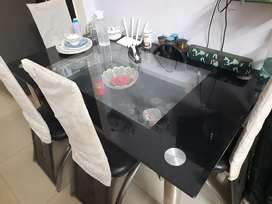 6 Seater Dual Tempered Glass Dining Table