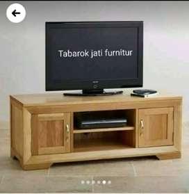 Meja tv minimalis slim moderen, P.120, kayu jati asli 100%