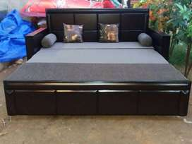 Brand new wooden sofa cum bed with mattress