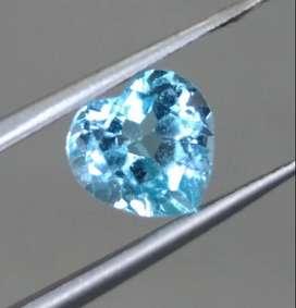 Batu Permata Blue Topaz Biru Bentuk Love heart Asli