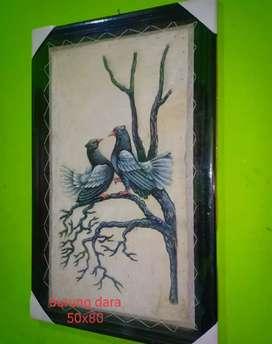 Lukisan Burung Media Kulit Kambing kaligrafi dll