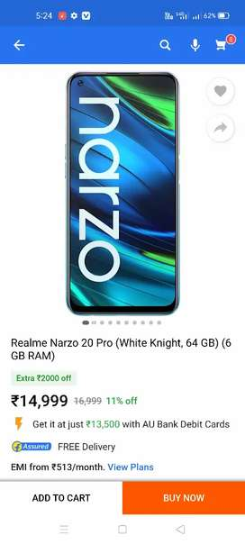 Realme nazro 20 pro just 1month