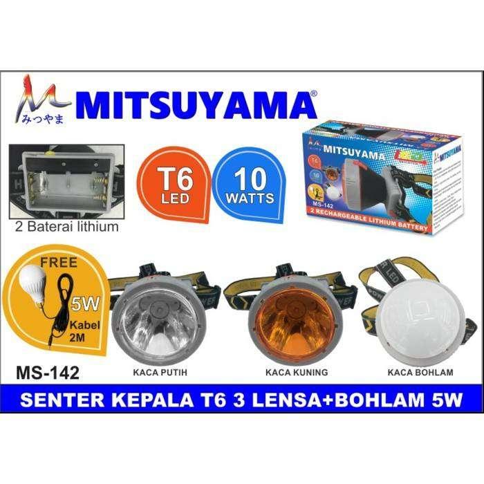 SENTER KEPALA 3 CAHAYA 12 WATT + BOHLAM 5 WATT MITSUYAMA MS 142 0
