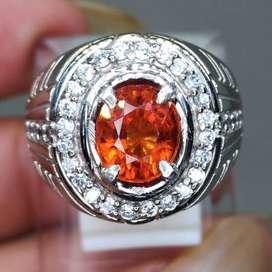 Batu Cincin Orange Garnet Oval Srilangka kode B562