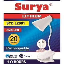 Lampu Belajar Cas Emergency Jepit Ke Meja Surya SYD L2001 20 SMD LED