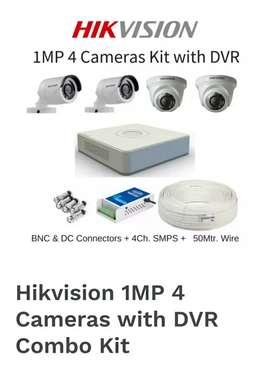 CP Plus Or Hikvision 4 CCTV Camera Kit