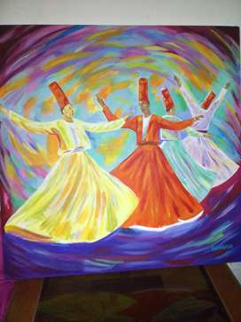 4 Sufis Whirling Acrylic painting