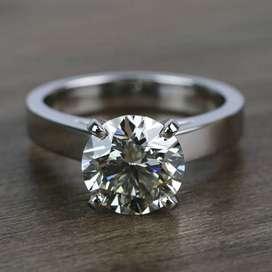 4 Carat Round Moissanite Diamond Ring In 14k White Gold