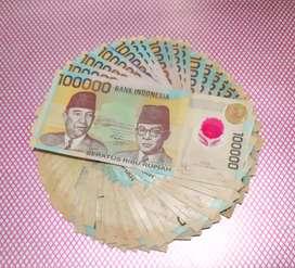 Dijual Uang 100Rb Plastik Per Lembar 130rb