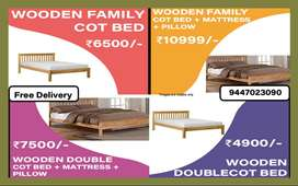 4900 only DOUBLE COT BED l FAMILY QUEEN | KING WOODEN MATTRESS PILLOW