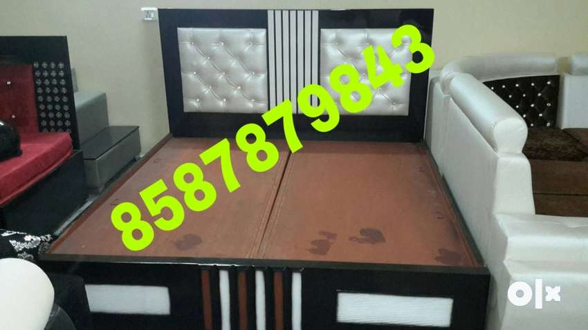 Brown Wooden Bed with cushion 0