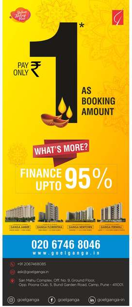 1BHK spacious homes in Undri. book your home in just RS.1