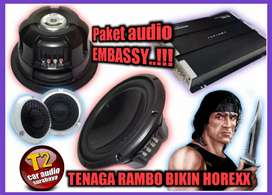 WOW PROMO PAKET AUDIO EMBASSY SERI ATAS TENAGA RAMBO BONUS LED GAN