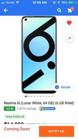Redmi 6i 6gbr ram /64gb white colour