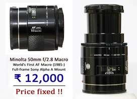 [Sony A mount] Minolta 50mm f2.8 macro vintage lens