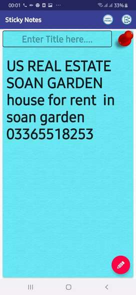 Brand new double story house for rent in soan garden