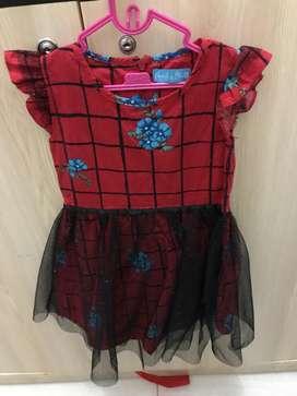 Dress red ruffle tile blink size 2thn