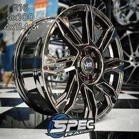 Jual Velg Mobil Racing R16 HSR Black Chrome Di Toko Velg Mobil Medan