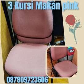 3 kursi makan pink