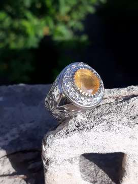 Natural yellow pukhraj in Beautiful sterling Silver Ring