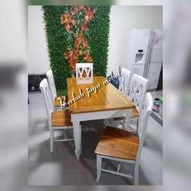 meja makan kayu jati kursi silang