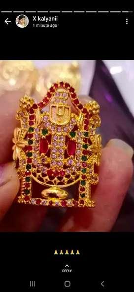 One gram gold venkatswara swami ring