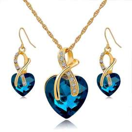 Jewelry Set Crystal Gold Heart Statement Necklaces Earrings