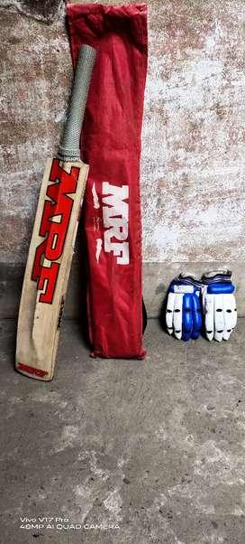 MRF Cricket Bat & 1 pair batting gloves...