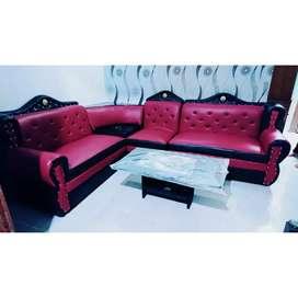 Promo sofa furniture oscar sudut L+meja bord
