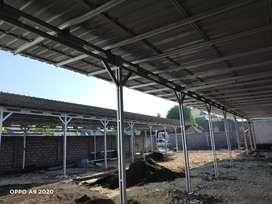 pemasangan kanopi baja ringan dengan atap trimdek