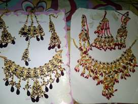 2 jewelry set in good condition,1 time used,bridel complete set