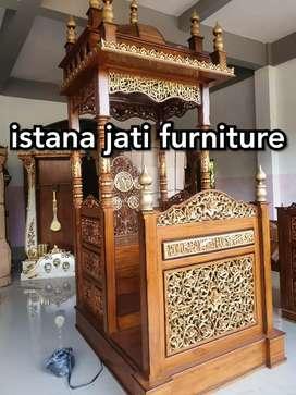 Mimbar masjid khutbah masjid mimbar kubah ornamen ukir keliling