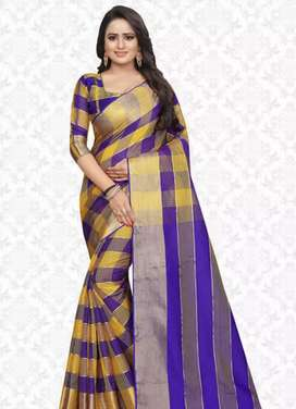 Multicolor Checkered Net Sarees With Blouse Piece