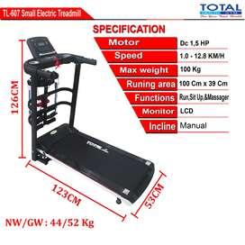 Ready treadmill elektrik TL 607 1,5hp 3 fungsi bonus domble
