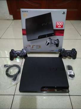 Jual PS3 Slim Like new 500GB isi 50 game terbaik 2 Stik empuk lancar