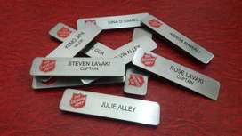 Name Tag Papan Dada bahan Stainless